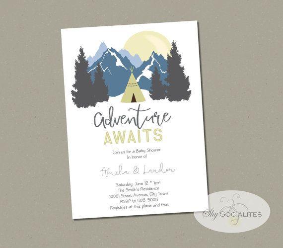 adventure baby shower invite invitation boy mountain trees tribal,