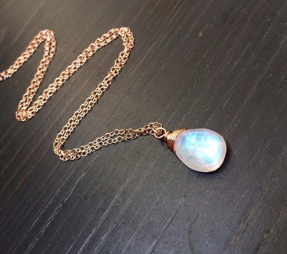 7da5a93eb6f84e Natural Rainbow Moonstone pendant Necklace. Blue flash moon stone jewelry. 14k  rose gold fill. Tin