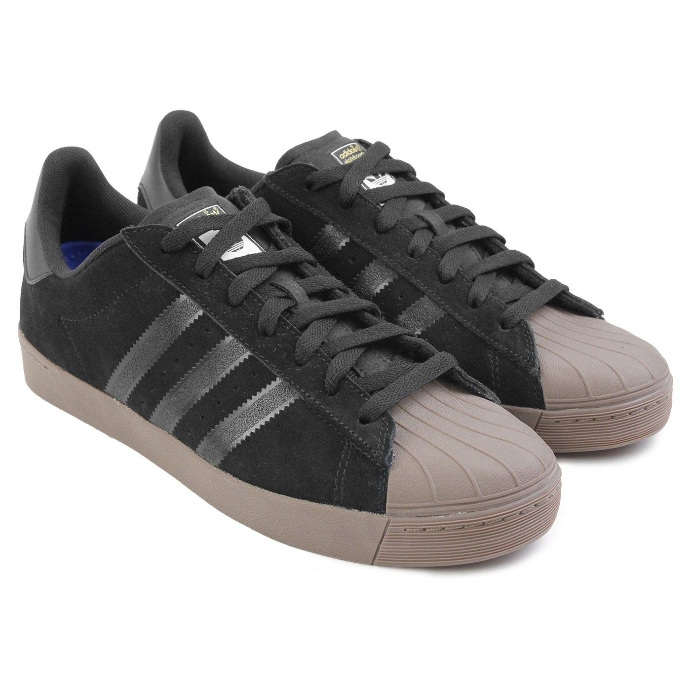 46875b132adb Superstar Vulc ADV Shoes in Black   Gold Metallic   Gum by Adidas  Skateboarding