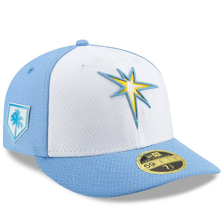 6bdc7219da9 Men s Tampa Bay Rays New Era White Light Blue 2019 Spring Training Low  Profile 59FIFTY Fitted Hat