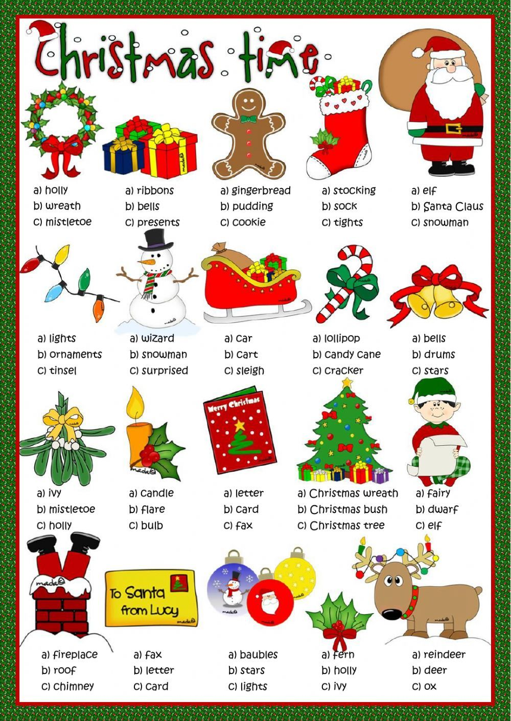 Christmas Interactive And Downloadable Worksheet You Can Do The Exercises Online Or Download The Worksh Christmas Worksheets Christmas Lesson Christmas School