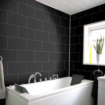 Buy Dumalock Matt Black Tile Effect Pvc Wall Panels From Mbdiy Pvc Wall Panels Pvc Panels Wall Panels