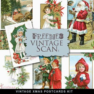 Far Far Hill - Free database of digital illustrations and papers: Vintage Post XMas Post Cards