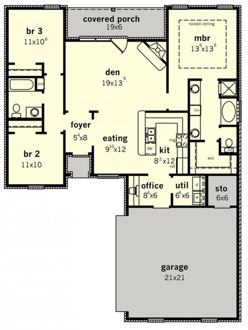 655590 Elegant 3 Bedroom Design With A Courtyard Entrance Little House Plans Retirement House Plans Small House Floor Plans