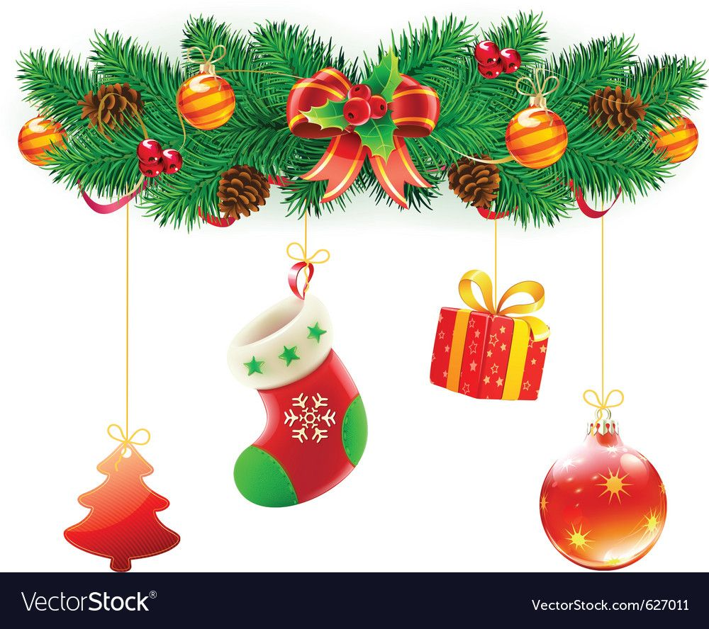 Christmas Composition Vector Image On Vectorstock In 2020 Christmas Decorations Christmas Christmas Design