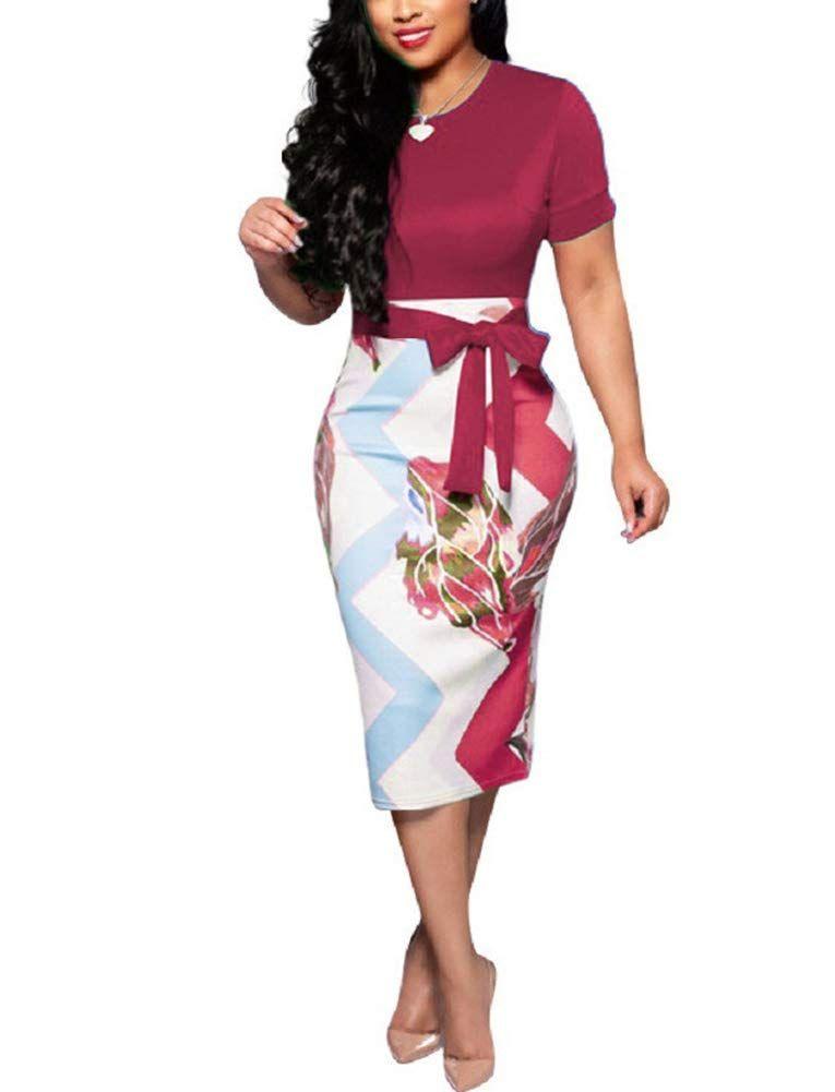 c0bc65980f Women's Short Sleeve Bodycon Dress - Cute Floral Bowknot Pencil Midi Dress