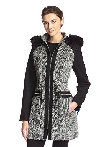 Laundry Women's Tweed Wool Coat with Hood - http://darrenblogs.com ...