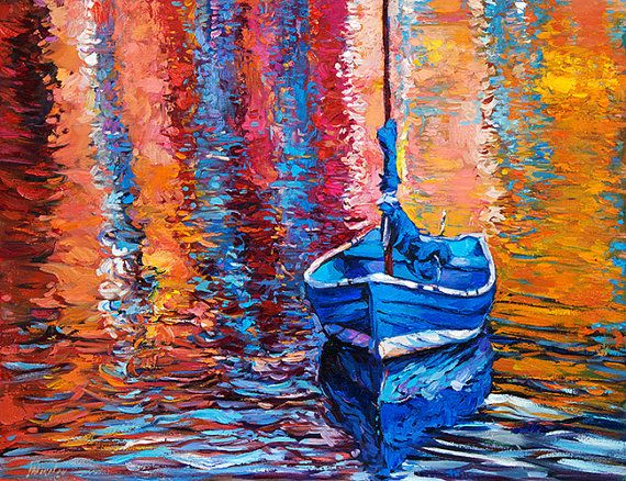 Blue Boat 26x20in Landscape Painting Original Art by IvailoNikolov