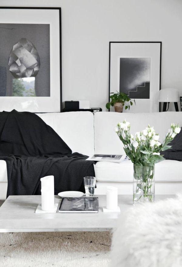 gestaltungsmöglichkeiten-für-wohnzimmer-sofa-in-weiß-und-schwarz - wohnzimmer ideen schwarz