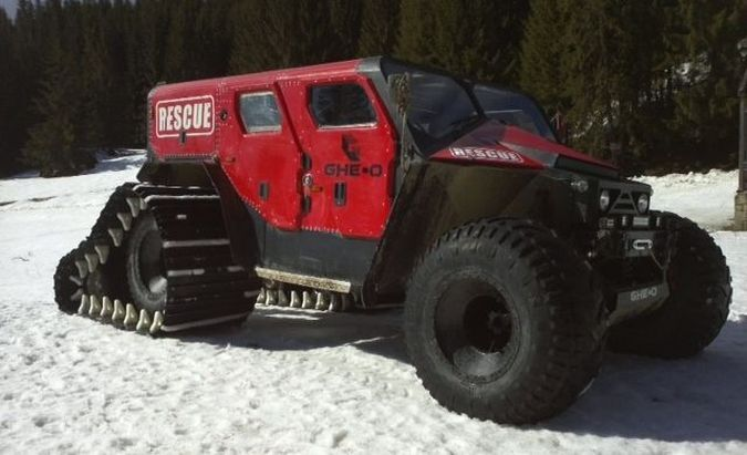 Gheo Motors Rescue All Terrain Vehicle Equipped With Snow Tracks - Cool cars 4x4