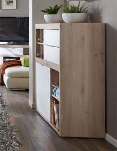 Buffet haut style scandinave couleur bois et blanc SWEDEN   Bahut ...