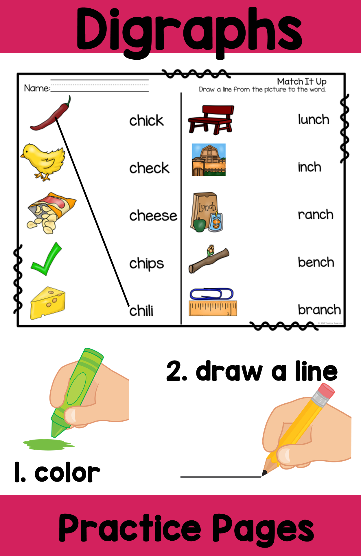 Digraphs Ch Practice Pages Color And Draw A Line To Connect The Picture With The Word Digraph Digraphs Activities Teacher Created Resources [ 1920 x 1248 Pixel ]