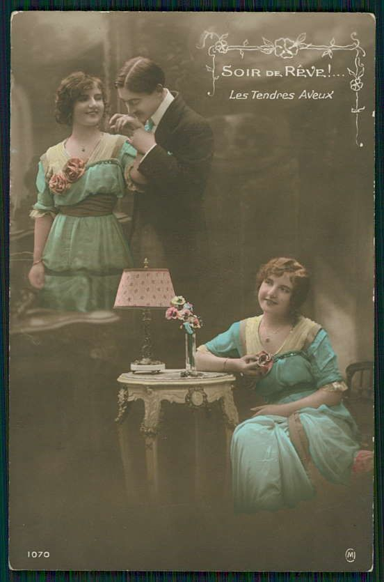 Edwardian Lady Man Love Romance Couple original vintage