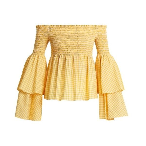 92dd93dcc05dc7 Caroline Constas Appolonia off-the-shoulder gingham-checked blouse ($405) ❤  liked on Polyvore featuring tops, blouses, yellow white, gingham off the ...