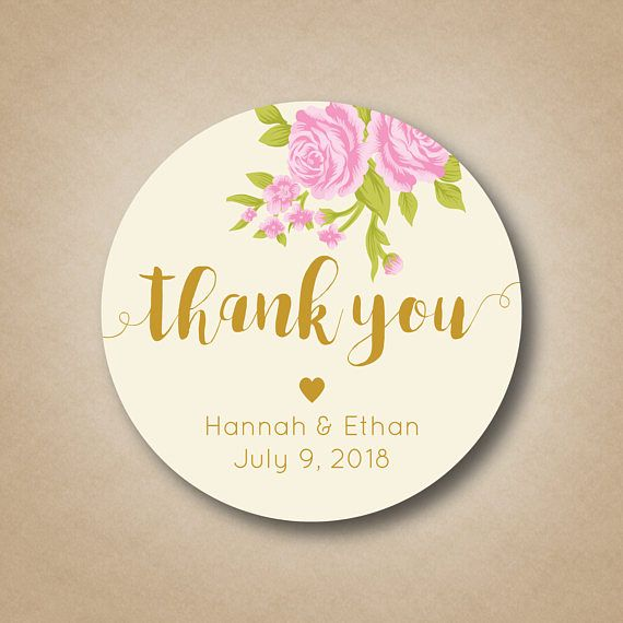 Wedding Thank You Stickers Favor Blush Pink