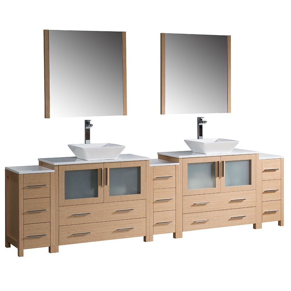Torino 108 Inch W Double Vanity In Light Oak With 3 Side Cabinets And Vessel Sinks Double Vanity Bathroom Modern Bathroom Vanity Bathroom Sink Vanity