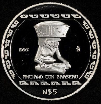 Mexican Commemorative Coins 5 Nuevos Pesos Silver Coin Anciano