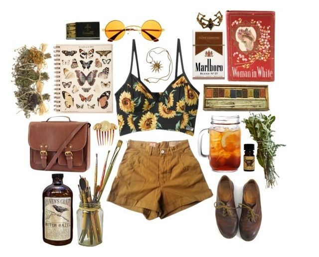 """""""It's Sunny Out"""" by softgore ❤ liked on Polyvore featuring Levi's Made & Crafted, Dr. Martens, Retrò, H&M, Dolce&Gabbana, Anne Klein and vintage"""