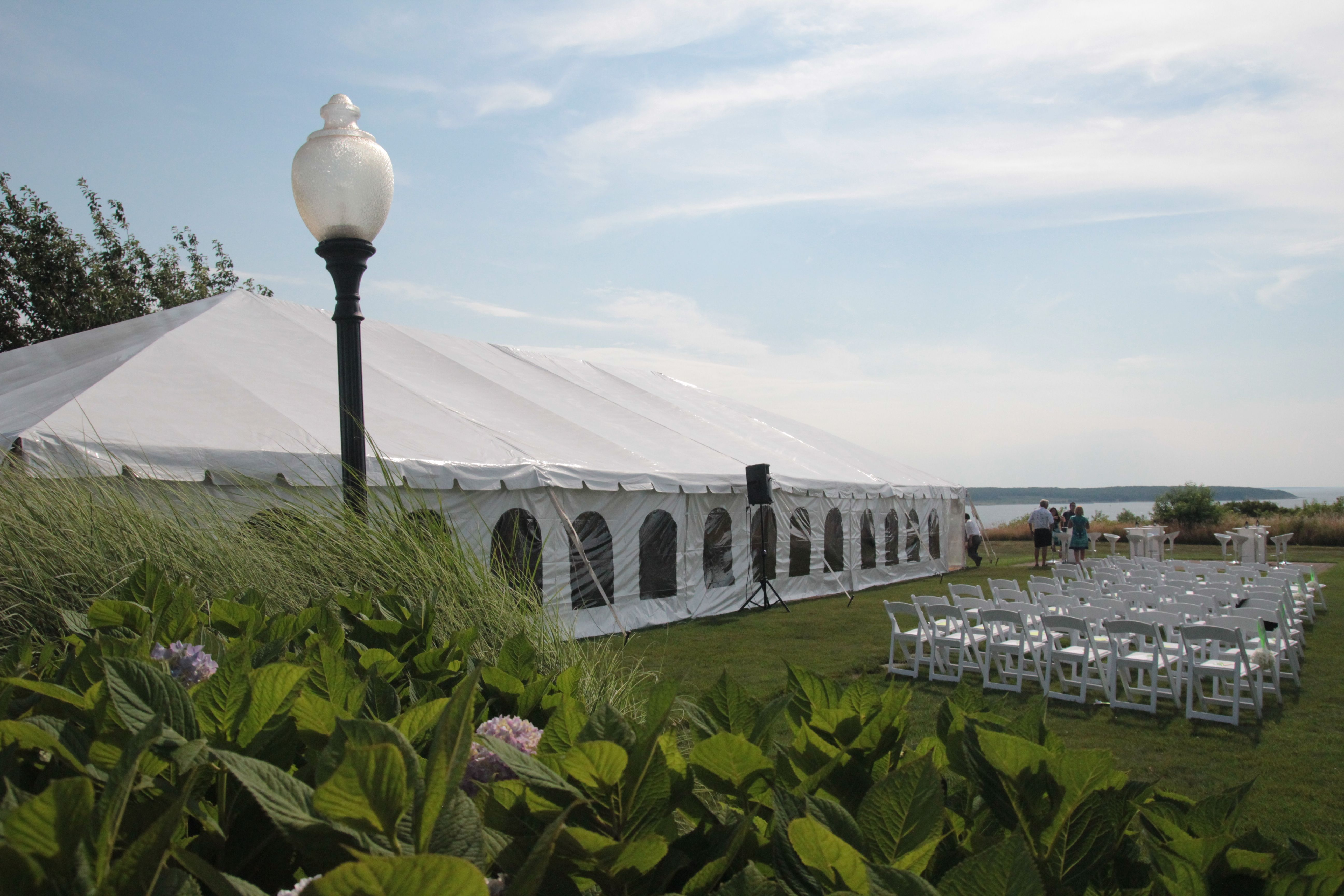40 x 80 frame tent with window tent side walls was put