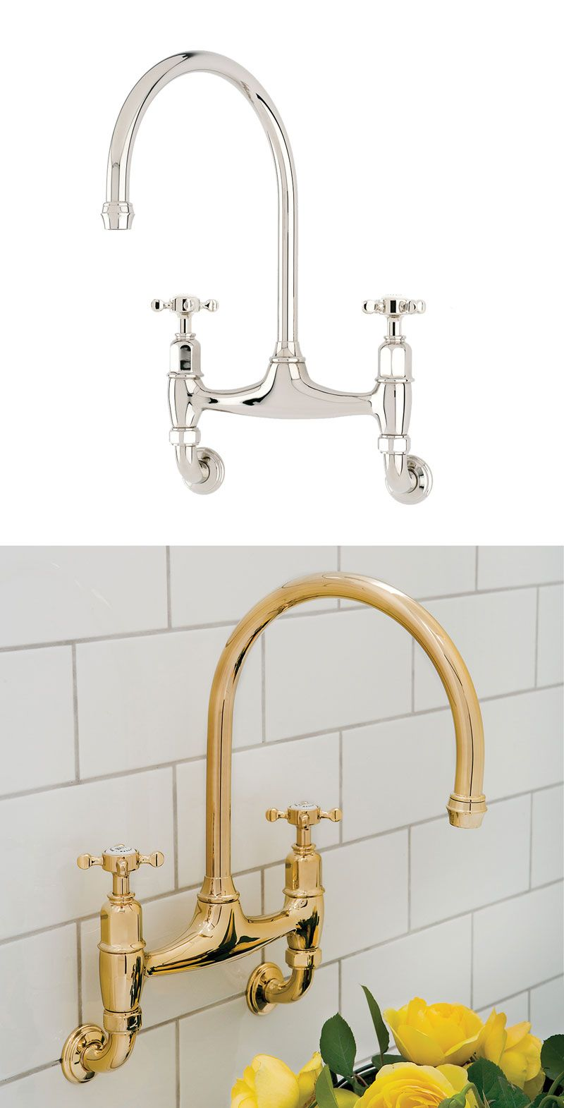 Perrin Rowe Ionian Wall Mounted Kitchen Tap In Chrome And Gold With Crosshead Handles 4182 Kitchen Taps Wall Mounted Taps Butler Sink