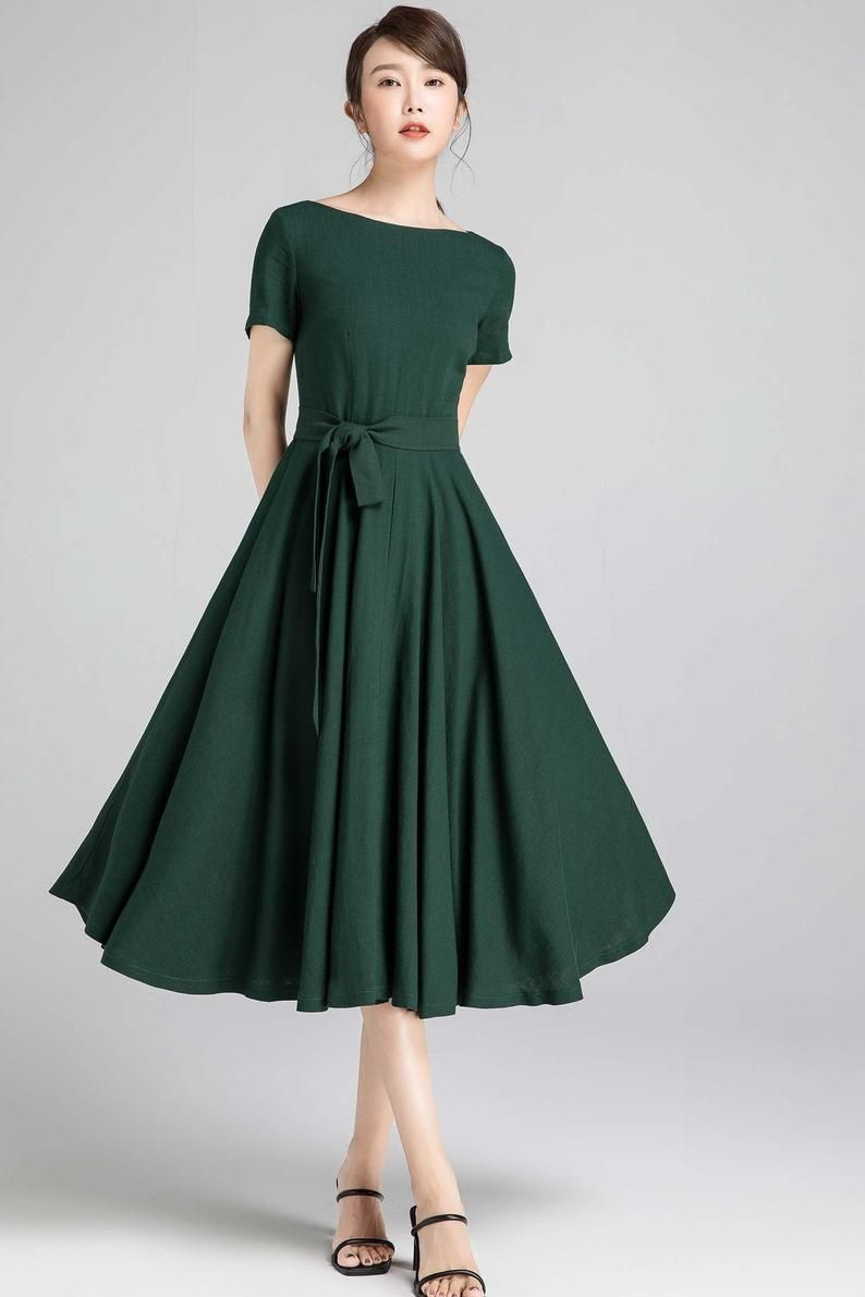 Short Sleeve Linen Swing Dress Green Dress Fit And Flare Etsy Fit And Flare Dress Green Dress Simple Green Dress [ 1191 x 794 Pixel ]