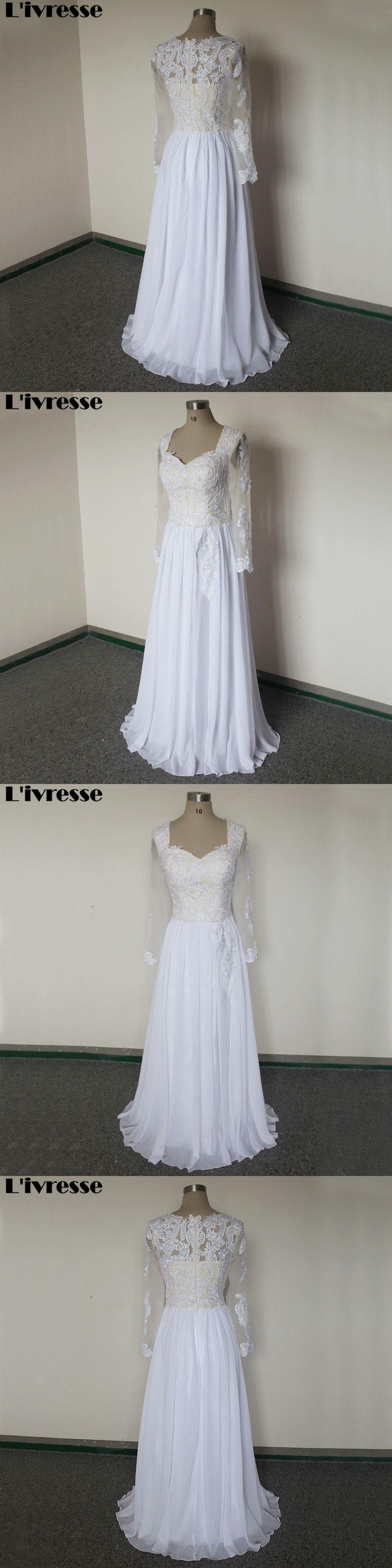 Long sleeve chiffon wedding dress  Cheap Chiffon Wedding Dresses With Long Sleeve Sweetheart Appliques
