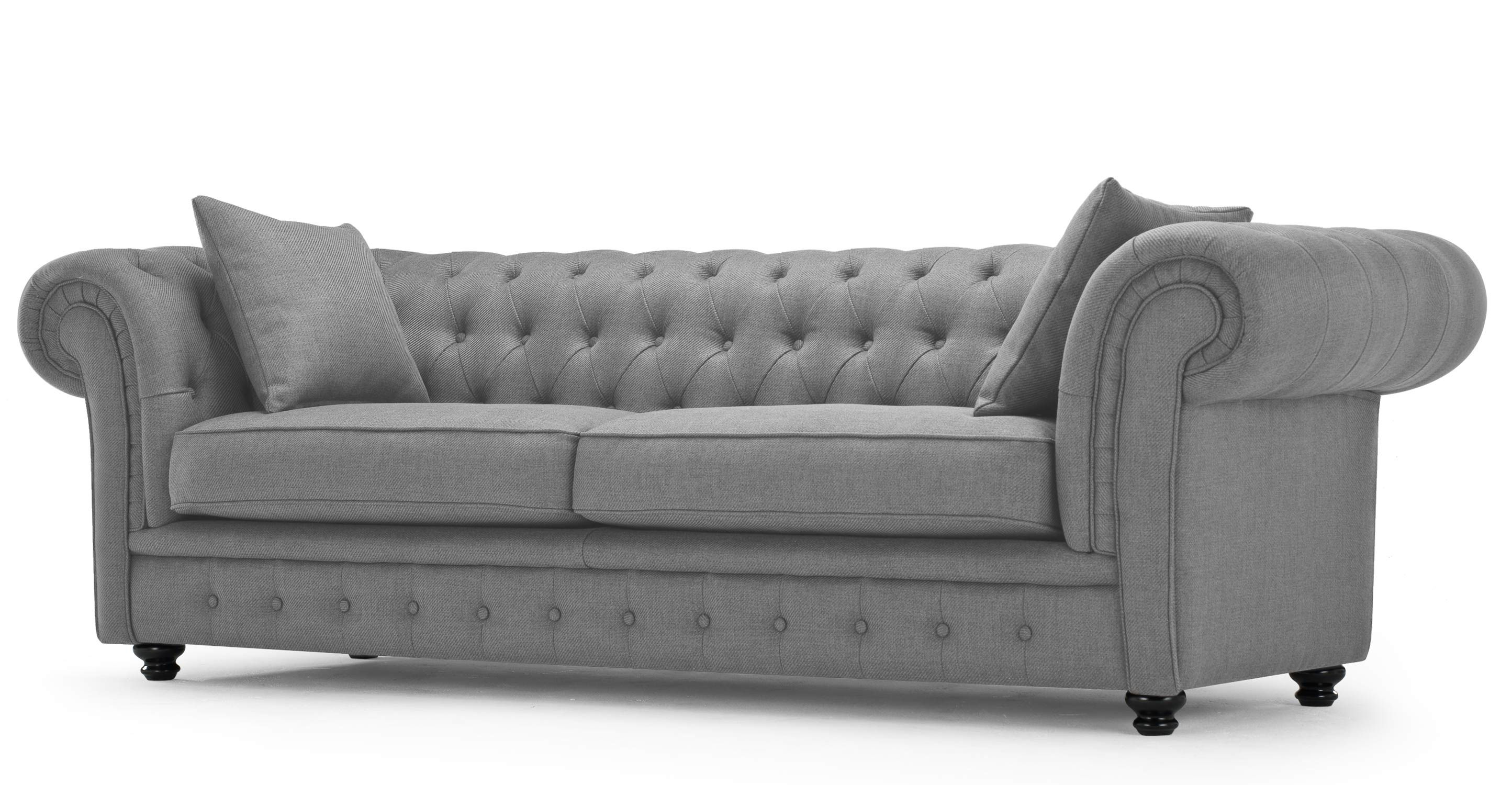 Branagh 3 Seater Chesterfield Sofa Pearl Grey Home Decoration