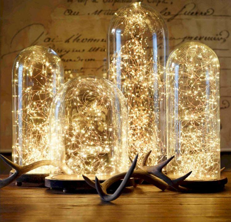 led lichterkette glasglocken dekorieren weihnachtlich ...