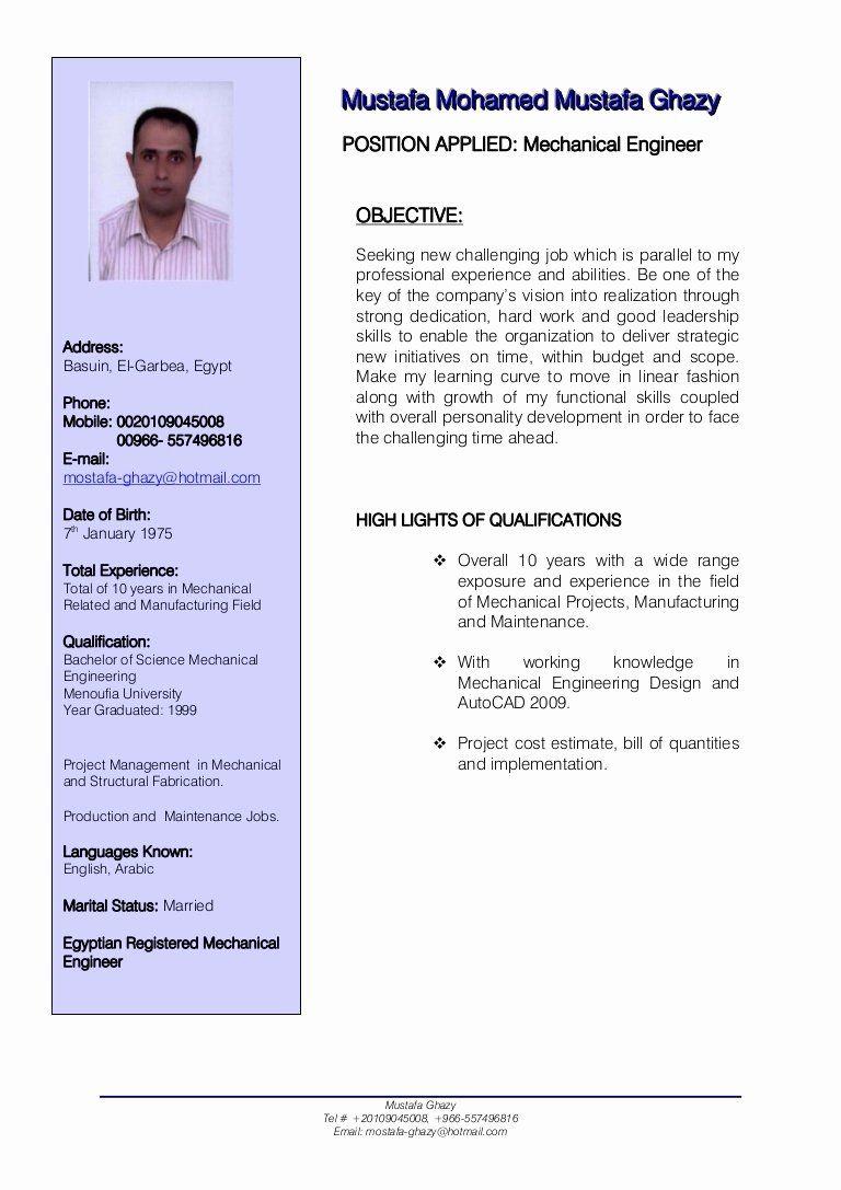 Mechanical Engineer Resume Templates Fresh Mechanical Engineer Cv Mechanical Engineer Resume Engineering Resume Engineering Resume Templates