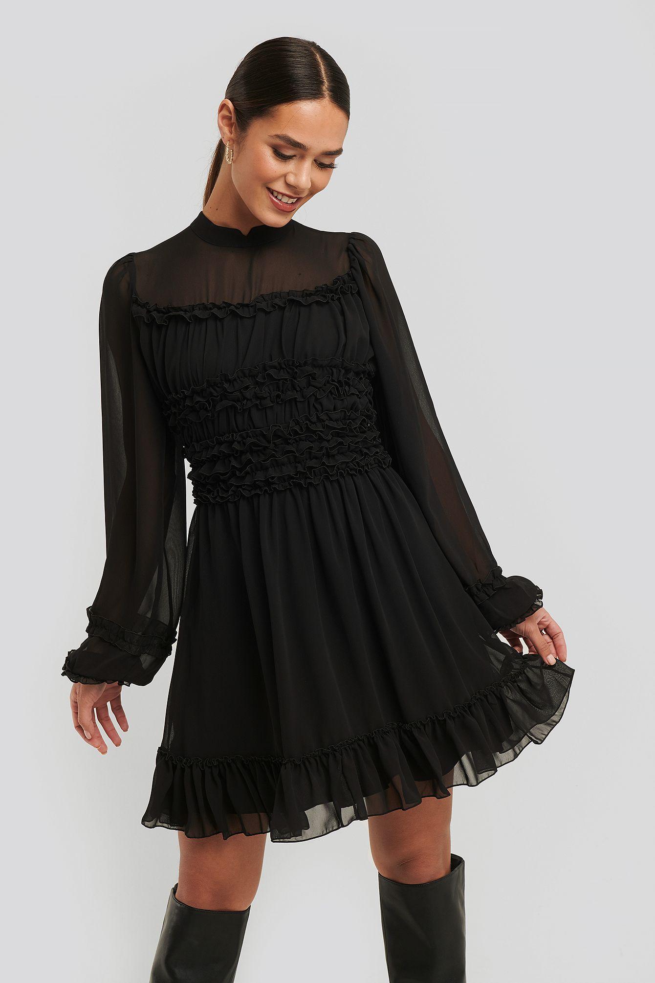 Ruffle Detail Dress in 16  Schwarzes kleid, Neues kleid, Kleider