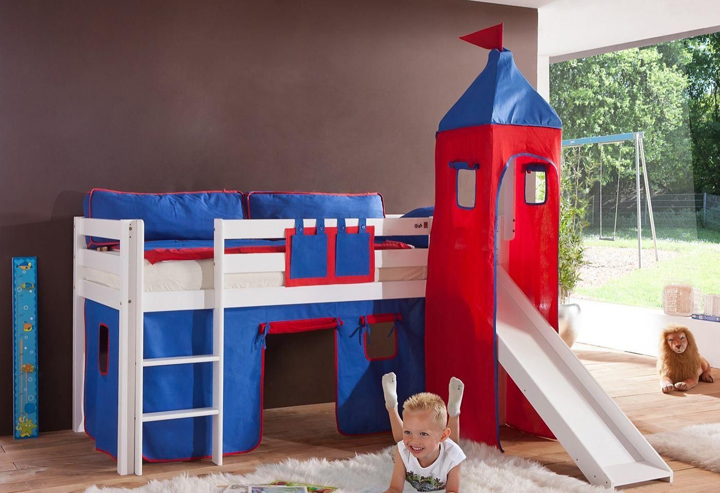 Ein Tolles Halbhohes Bett Mit Rutsche Und Turm Zum Spielen Und