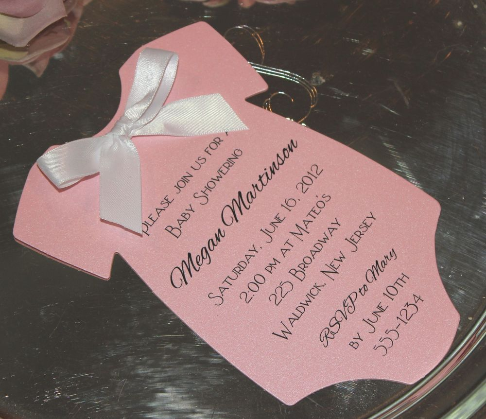 Pink Baby Shower Invitation Onesie For a Girl - Printed on Metallic ...