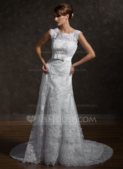 Wedding Dresses - $236.99 - A-Line/Princess Square Neckline Chapel Train Satin Tulle Wedding Dress With Lace Bow(s) (002000631) http://jjshouse.com/A-Line-Princess-Square-Neckline-Chapel-Train-Satin-Tulle-Wedding-Dress-With-Lace-Bow-S-002000631-g631?snsref=pt&utm_content=pt&shref=0019bc52a6706427c6701a3abd3ea43a