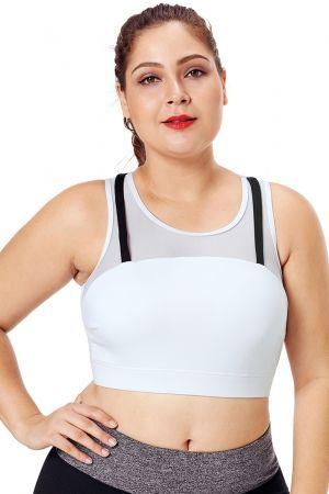 e7c922e5a45 Black Strap Detail White Yoga Crop Top. Black Strap Detail White Yoga Crop  Top Plus Size Sports Bras, 4 Way Stretch Fabric