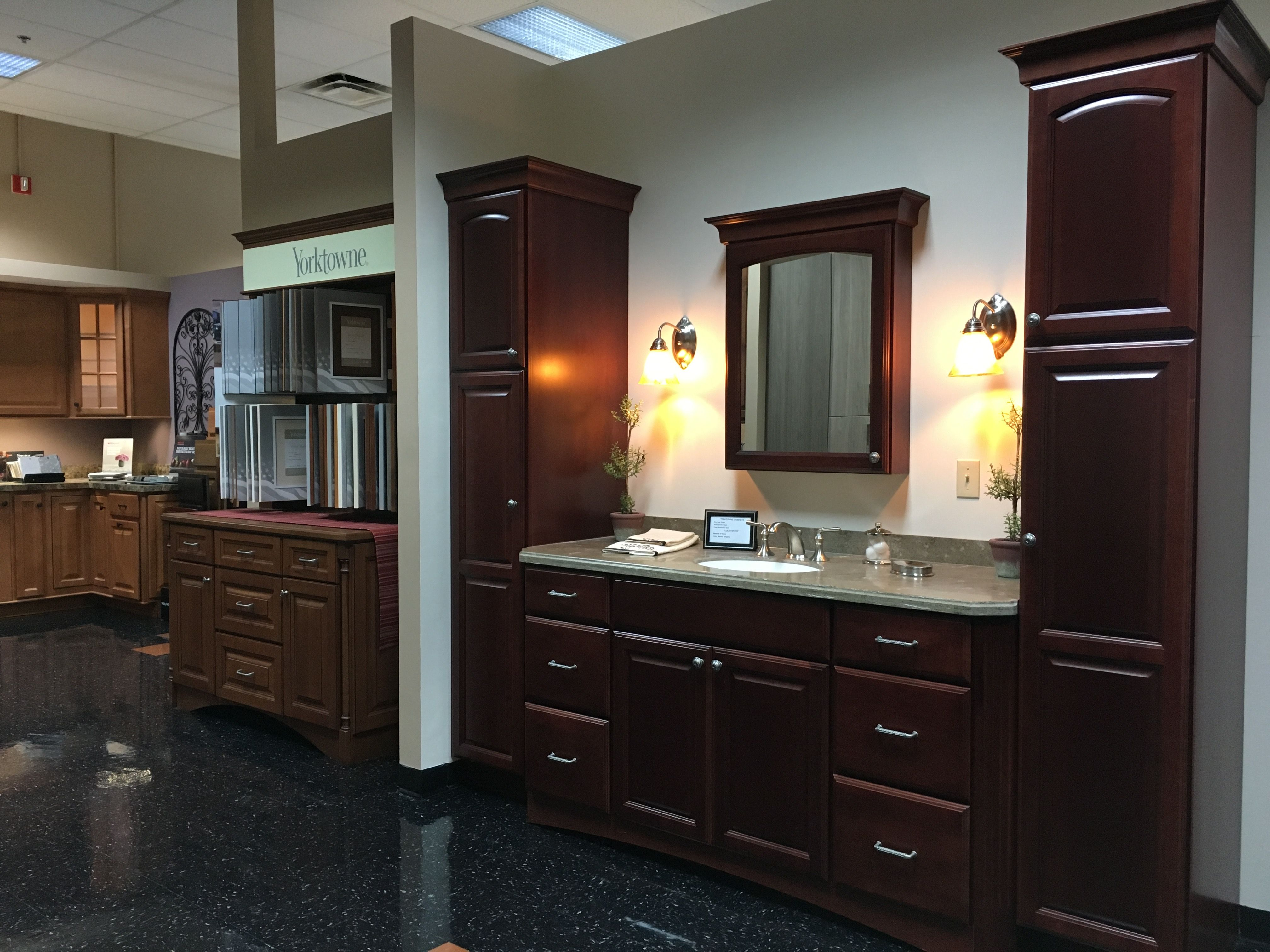 Single Bowl Vanity Set Up Flanked With Linen Units To Maximize Storage And Give An Elegant Look With S Kitchen Cabinets Showroom Vanity Set Up Cabinetry Design