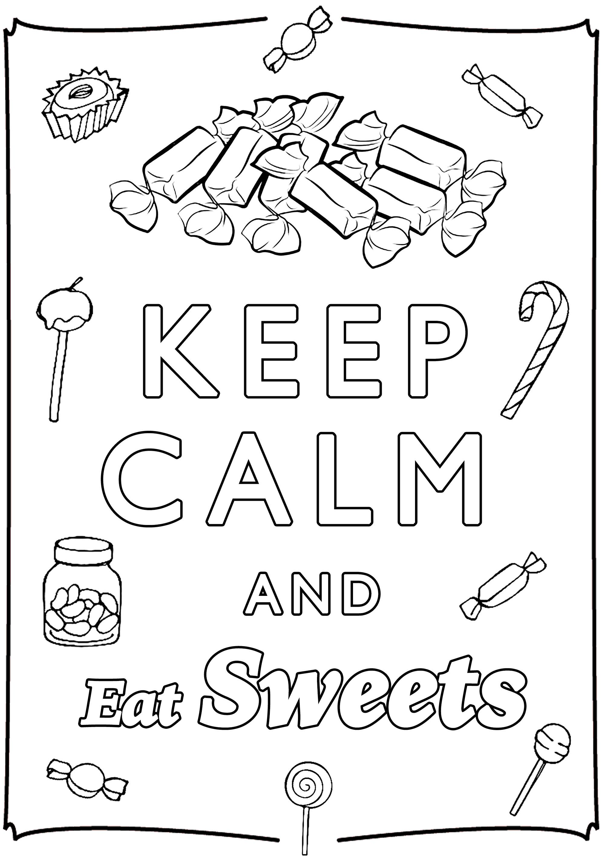Keep Calm And Eat Sweets A Cute Coloring Page For Those