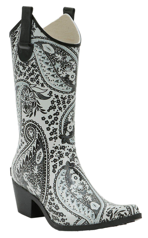 60fbfc344df Blazin Roxx Grey Feather Skull Round Toe Rain Boots | Fashion ...