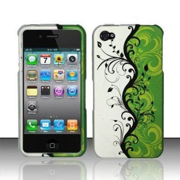 Rubberized Green Silver Black Vines Flower Snap on Design Case Hard Case Skin Cover Faceplate for Apple Iphone 4 4S (AT/Verizon/Sprint) $0.99
