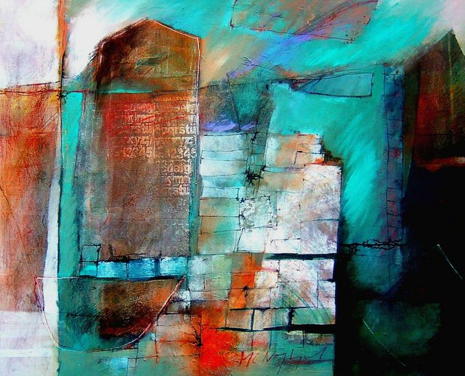 bouwstenen van de buitenhuid by Marjan Nagtegaal - abstract acrylic painting on canvas 2008