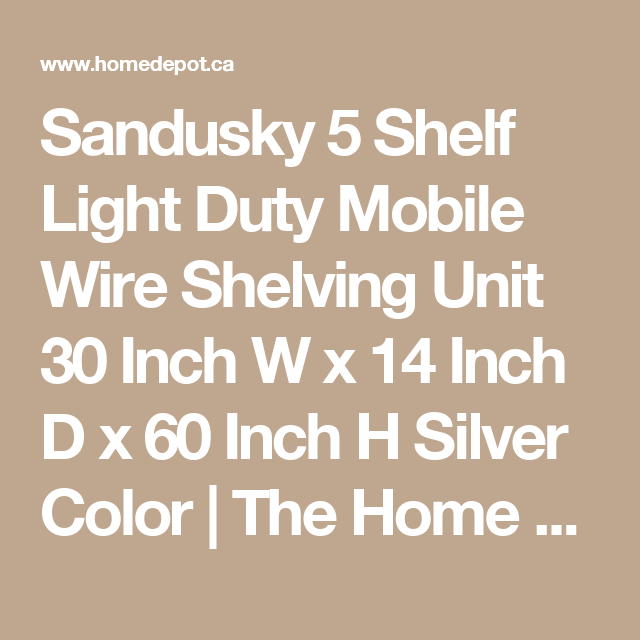 Sandusky 5 Shelf Light Duty Mobile Wire Shelving Unit 30