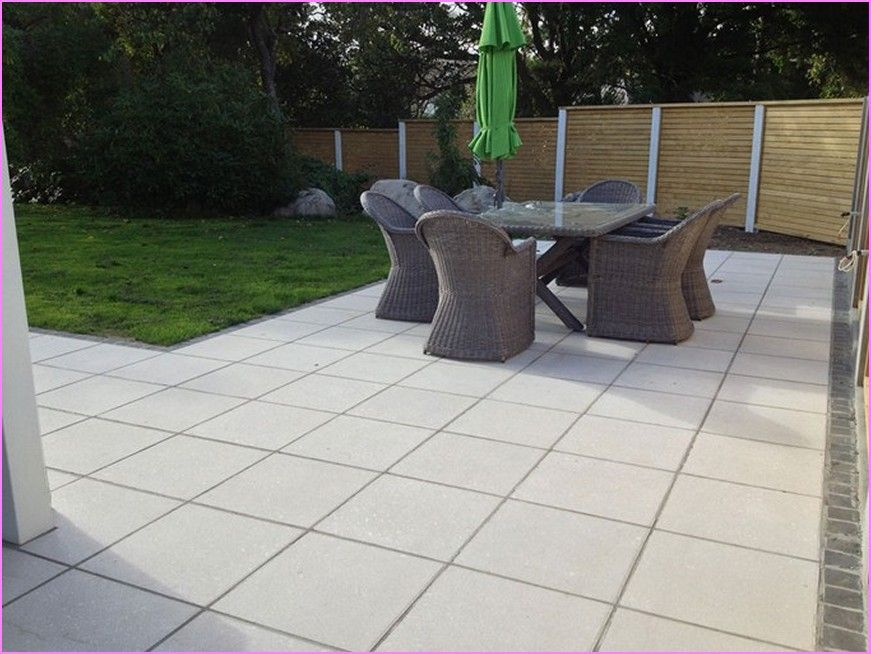 Square-tiled patio to resemble picnic blanket pattern (furniture