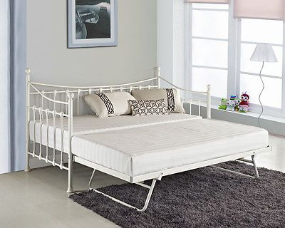 Versailles French Metal Day Bed With Free Guest Pull Out Trundle