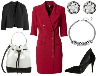 Lauren -Lasting first impressions. When attending networking events add a little spice to your professional look to ensure you stay in people's mind. Here I have chosen a tailored blazer dress in deep red that is a classic and easy to wear but very much on trend right now. I have added chunky silver costume jewellery, fun and modern monochrome bucket bag and a black pump with a little unusual cut. The little black blazer is collarless so it sits nicely with this dress. www.ionimage.nl