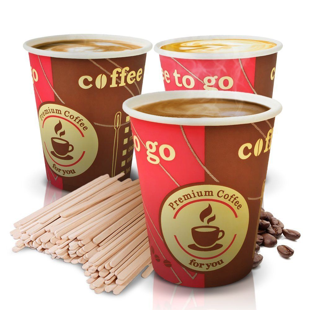 Recycled Paper Set Cups 100 Disposable Tea Coffee Cup Wood