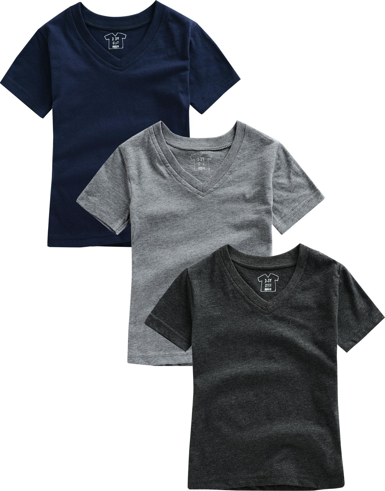 Vaenait baby 3 Pack 2T-7T Boys Short Sleeve V-Neck Basic Tee T-Shirts
