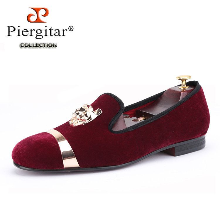 cheapest price cheap online New party and wedding handmade Red Leather loafers men velvet shoes with tiger and gold buckle men Weaving Bottom dress shoe men's flats new arrival for sale ODc5KJRV