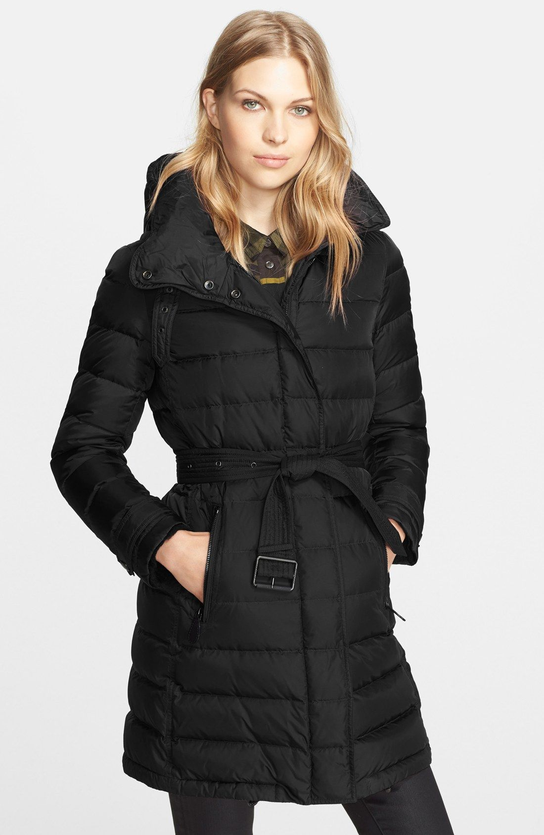 Burberry Brit 'Winterleigh' Belted Down Coat | Fashion | Pinterest ...