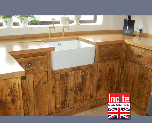 Rustic Pine Kitchen Cabinets | The Rustic Plank Kitchen Unit Housing The  Belfast Sink Unit And ..