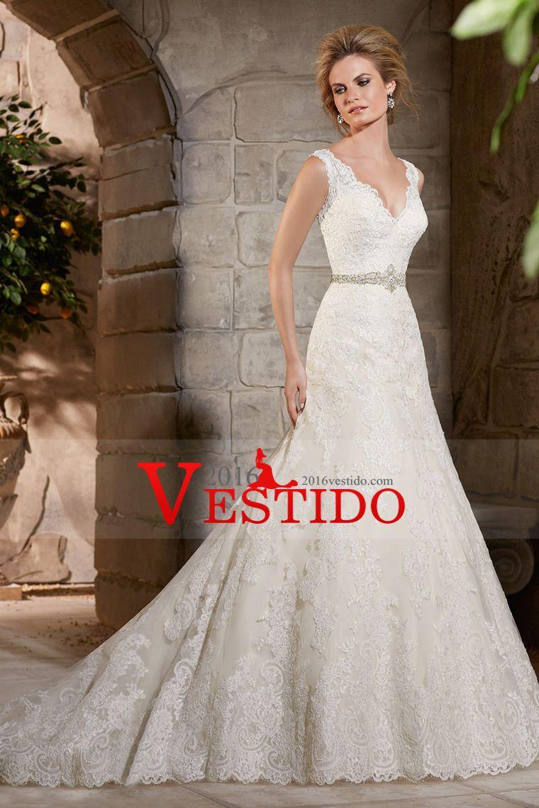 2016 vestidos de novia V-Cuello vaina / columna Tribunal con cuentas ...