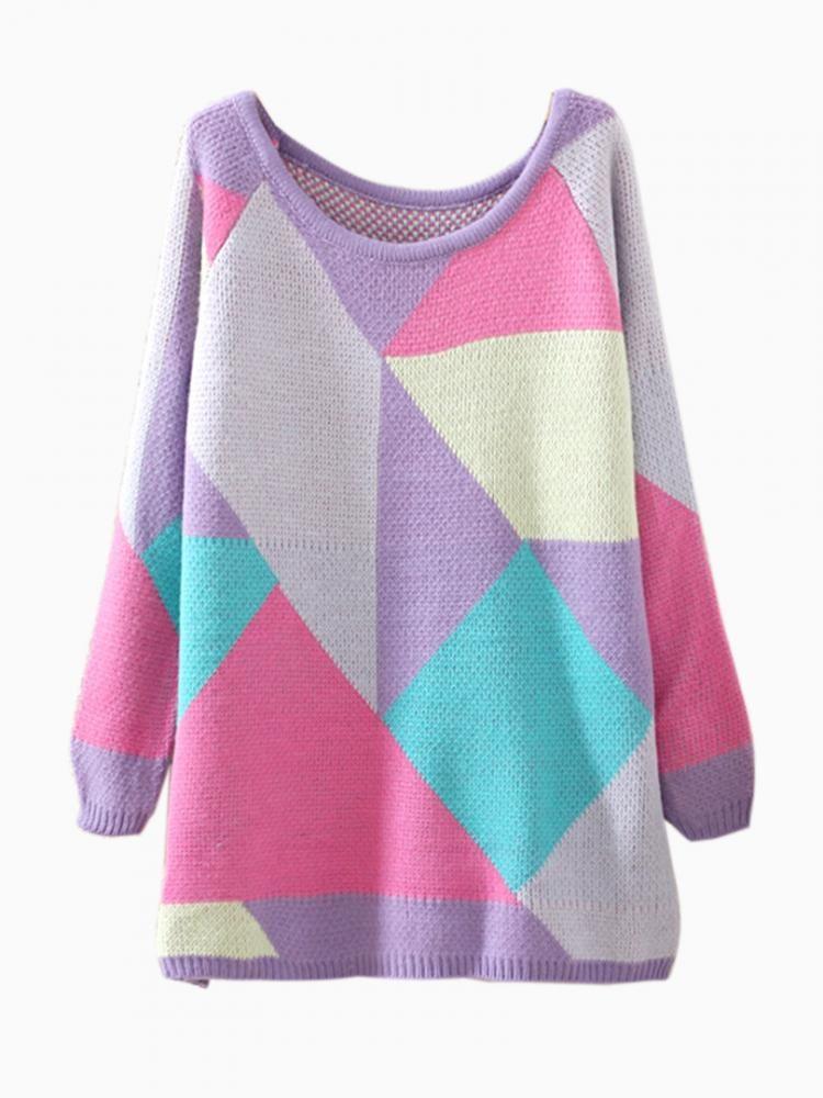 Contrast Colorful Geometric Sweater - Choies.com